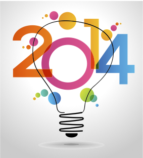 2014 with Light Bulb Backgroung
