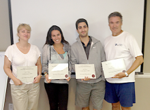 Photo of Christine & 3 collegues from Le Club West Island with certificates after seminar