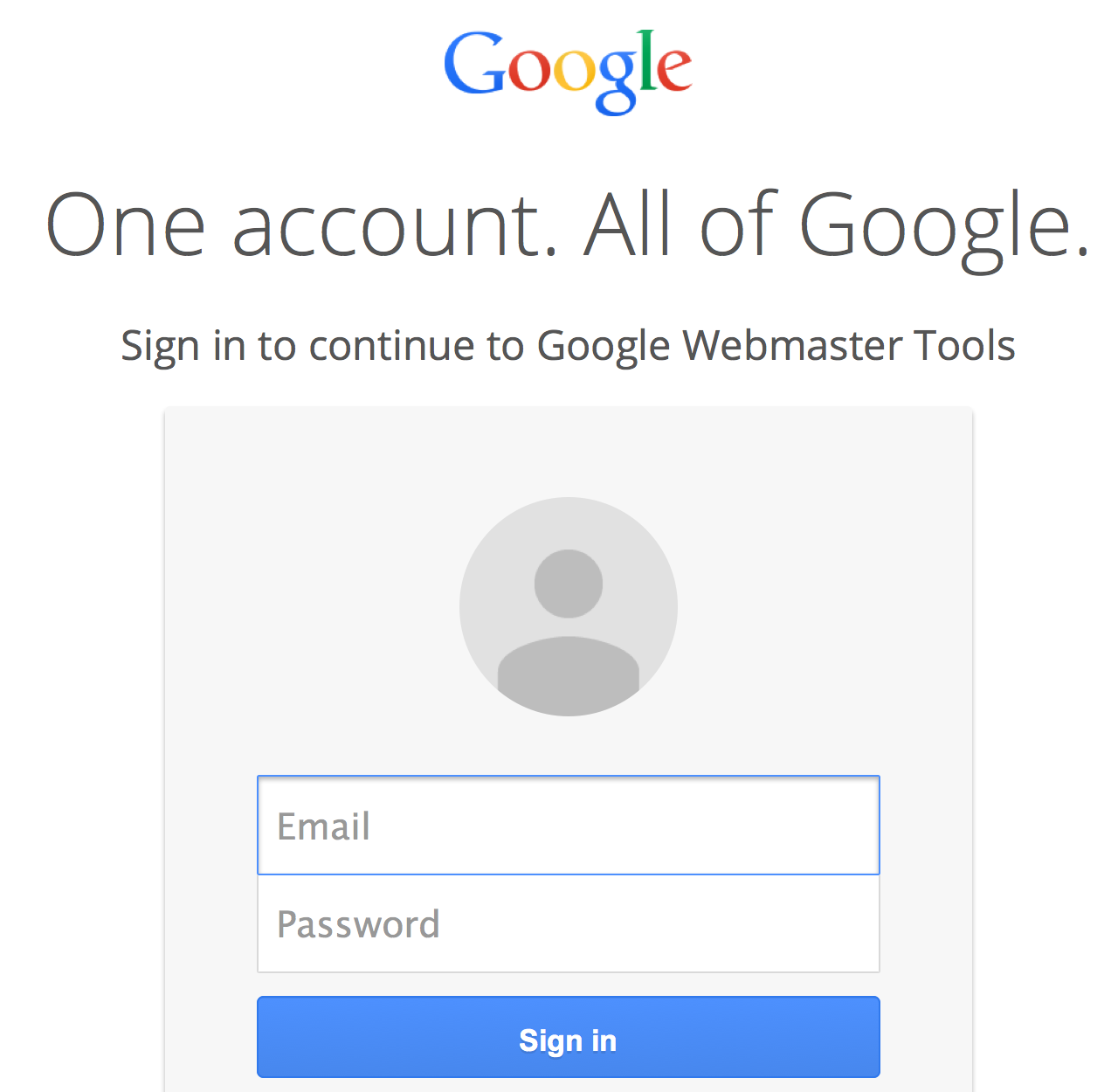 Screenshot New Google Search Console Login